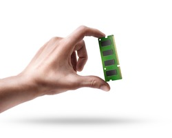 Man's hand holding Computer RAM Memory Card isolated on white background