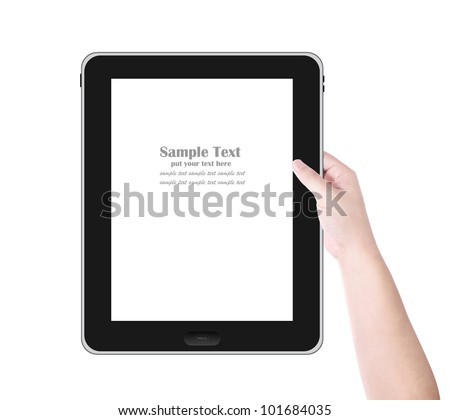 Man's hand holding digital tablet PC with white screen. Isolated on white background