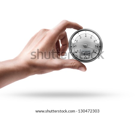 Man's hand holding External tachometer isolated on white background