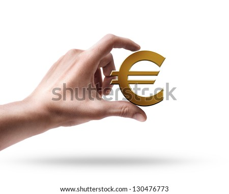 Man's hand holding Golden Euro simbol isolated on white background