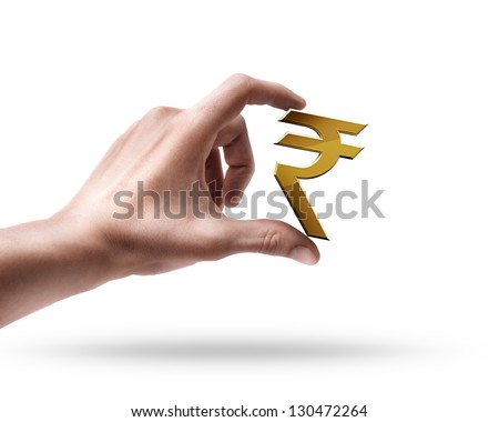Man's hand holding Golden Indian rupee simbol isolated on white background