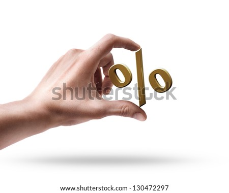 Man's hand holding golden percent symbol isolated on white background