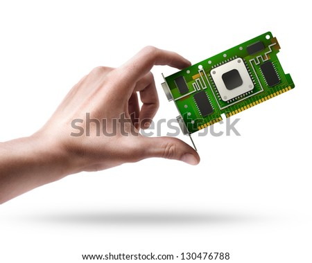 Man's hand holding graphic card GPU isolated on white background