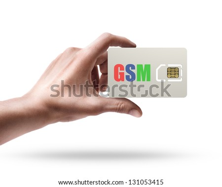 Man's hand holding GSM sim card isolated on white background
