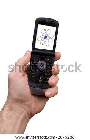 man's hand holding modern cell phone with a nucleus of an atom isolated over white with a clipping path