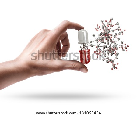 Man's hand holding pill with molecule structure isolated on white background
