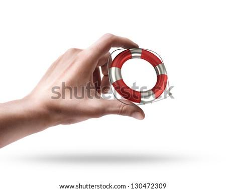 Man's hand holding Red lifebelt isolated on white background