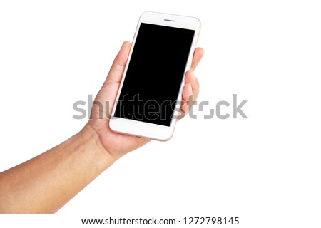 Man's hand holding smart phone on white background, isolate, clipping path.