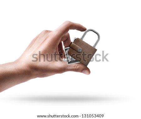 Man's hand holding Wallet lock isolated on white background