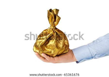 man's hand holds a bag isolated on white