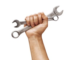 Man's hand holds a spanners isolated on white background. Close up. High resolution product
