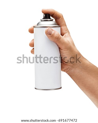 Man's hand holds spray can isolated on white background. Close up. High resolution product
