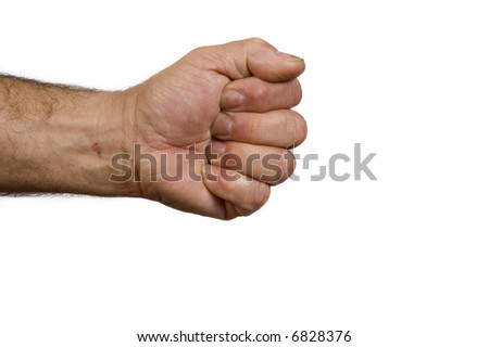 Man's hand in the shape of a rock for the game scissors, paper, rock