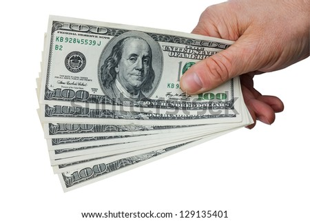 Man's hand keeps money, isolated on white background