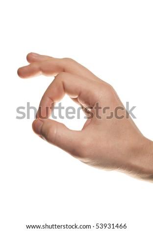 man's hand make OK isolated on white background