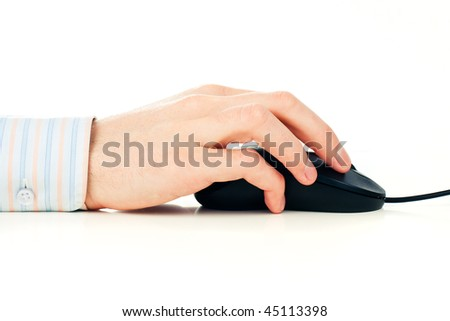 Man's hand on computer mouse. Isolated over white