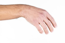 Man's hand on white background. Hand gestures.Different hand movements.