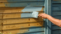 man's hand painting wooden Fence with a brush in sage green colour