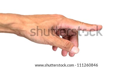 Man's hand press button or point at something isolated on white background. - stock photo