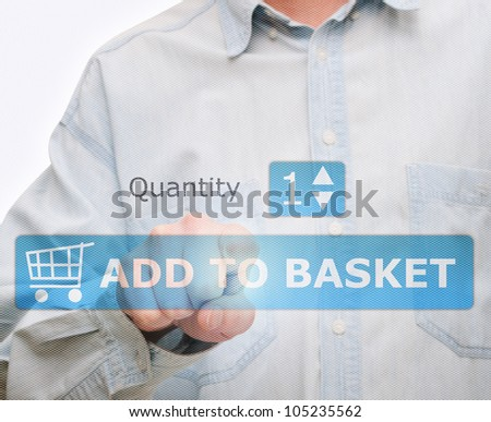 Man's Hand Pushing Download Button on Touch Screen - stock photo