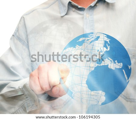 Man's Hand Pushing Globe Icon on Touch Screen