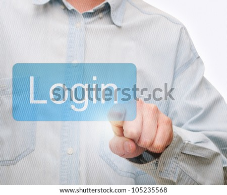 Man's Hand Pushing Login Button on Touch Screen