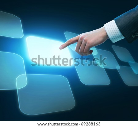 Man's hand pushing the button.Choice concept