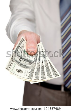 Man's hand reaching out money on white background - stock photo