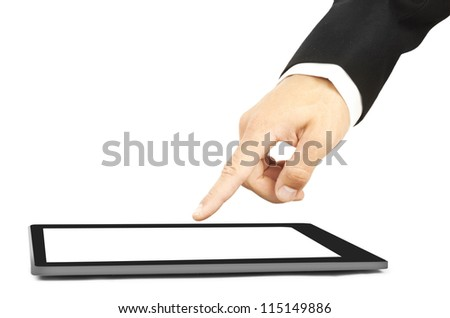 Man's hand touch a tablet