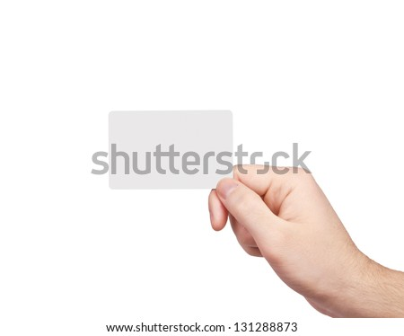 Man\'s hand with a blank card isolated on white  background.
