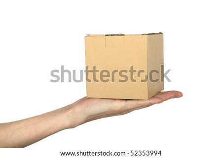 man's hand with box , closeup, isolated background