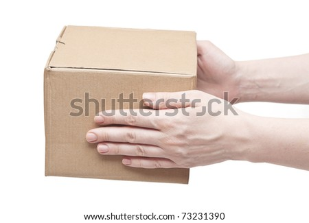 man's hand with cardboard box on white background