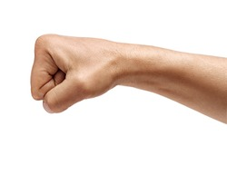 Man's hand with closed fist, isolated on white background. High resolution product. Close up