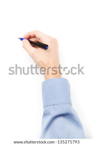 Man's hand with pen writing on blank paper