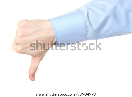 man's hand with thumb down isolated on white