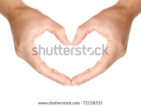 Man's hands held in protecting heart's shape, showing love and care symbol, isolated on white background, may use as a copy space for your object or text