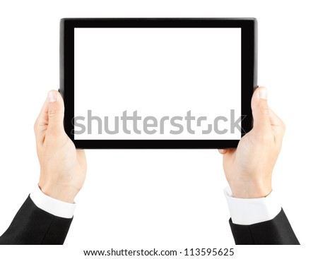Man's hands holding a tablet