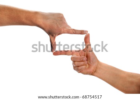 Man's hands making frame isolated over white background
