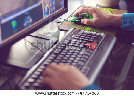 man's hands play pc game  pc...