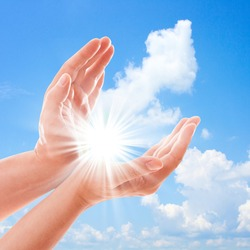 Man's hands reach for sky. Prayer at dawn  Hand concept.Two hands protecting something