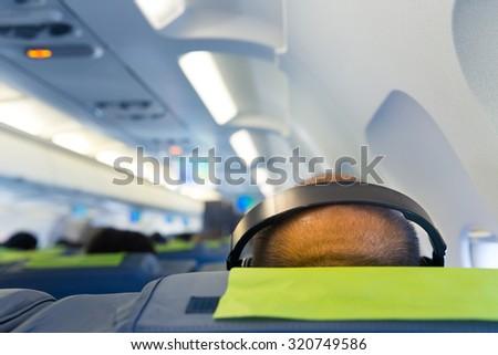 Man's head in headphones