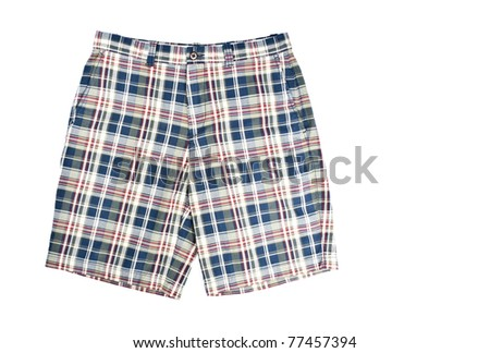 Man's Plaid Shorts Isolated on White