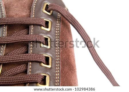 Man's shoe on a white background. - stock photo