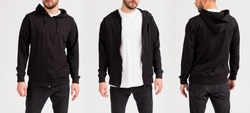 Man's sweatshirt of black color. Front view, side view
