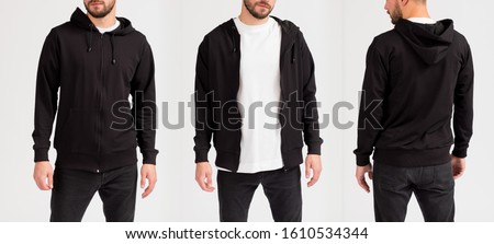 Photo of  Man's sweatshirt of black color. Front view, side view