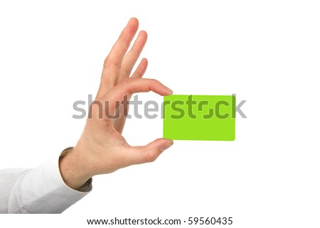 Man's the hand holds a green card on a white background