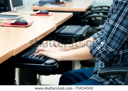 Man's training in  computer classroom