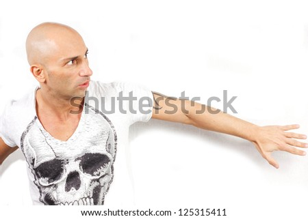 man scared on a white background