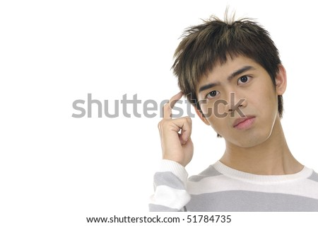 Man scratching his head while thinking