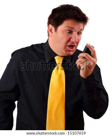 Man screaming during a call on his cell phone (using 3G video call or reading SMS and getting upset)